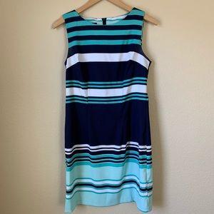 Striped Blue Green & White Dress